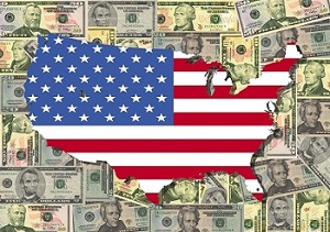 american flag map cash background